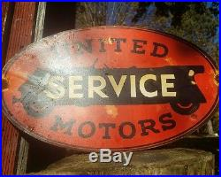Vintage United service motors sign gas oil garage rare gm chevy car auto