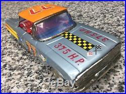 Vintage Unused Japan Tin Chevrolet Wind Up Toy & Box Rocket Stock Car Ichiko