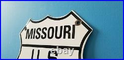 Vintage Us Route 66 Porcelain Gasoline Missouri Auto Road Trip Shield Sign