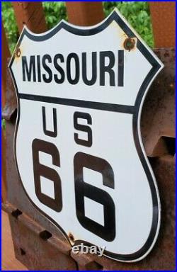 Vintage Us Route 66 Porcelain Metal Gasoline Auto Missouri Road Trip Shield Sign