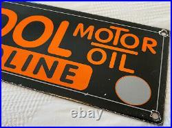 Vintage Veedol Motor 16 Porcelain Sign Car Gas Oil Truck Gasoline Automotive