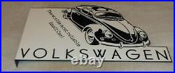 Vintage Volkswagen Beetle Bug Car 20 Metal 2 Sided Flange Gasoline & Oil Sign