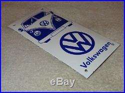 Vintage Volkswagen Bus Vw 8 Porcelain Metal Enamel Car, Gasoline & Oil Sign