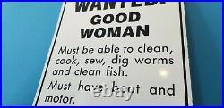 Vintage Wanted Good Woman Porcelain Automobile Car Garage Gas Oil Sign