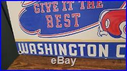 Vintage Washington Chief Gasoline Indian In Car 18 Porcelain Metal Gas Oil Sign