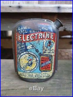Vintage Whites Electrine Cycle Lubricating Oil Tin Can Memorabilia Automobilia