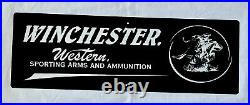 Vintage Winchester 36 Gun Ammunition Riffle Porcelain Sign Car Truck Gas Oil