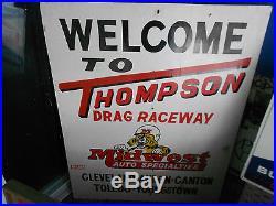 Vintage Wood Thompson Drag Raceway Car Advertising Sign Ohio