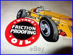 Vintage Wynn's Friction Proofing Oil 12 X 7 Metal Gasoline Car Sign Pump Plate