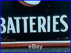 Vintage advertising exide batterie sign car gas pump man cave display