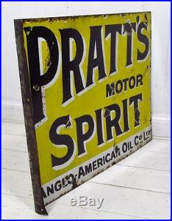 Vintage c1920 Pratt's Motor Spirit Double Sided Enamel Sign #2