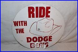 Vintage c1970 Ride With The Dodge Boys Mopar Chrysler Car Gas Oil 15 Metal Sign