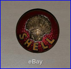 Vintage enamel SHELL Oil Fuel Petrol brooch pin badge Very Rare