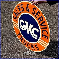 Vintage lg 30in GMC truck Sales Service Car Gasoline Oil Gas Porcelain Sign