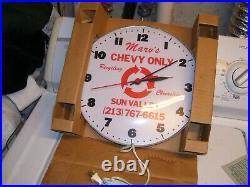 Vintage nos GM Chevrolet California Bone yard Clock sign chevy gas oil hot rod