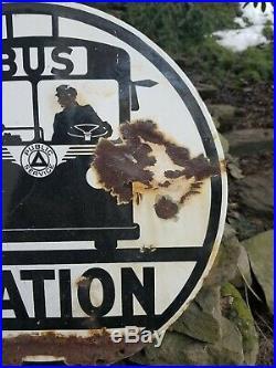 Vintage old porcelain original double sided bus station sign oil gas car truck