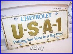 Vintage original 70s GM CHEVROLET promo USA 1 PLATE gas oil auto license camaro