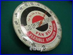 Vintage tin Lifeline fan belts Thermometer