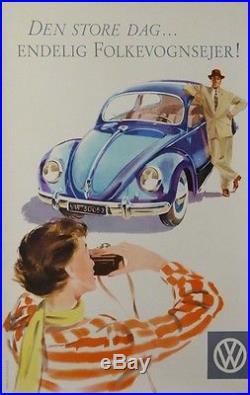 Volkswagen Coccinelle Le Grand Jour Victoire Deng Store Dag Vintage Car Poster