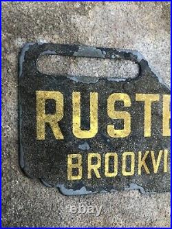 Vtg 1940s Ford Dealership Schmaltz Paint License Plate Topper Sign Brookville IN