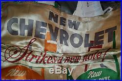 Vtg 1949 Chevrolet Showroom Silk Banner Sign Chevy Truck Car GMC Advertisement