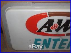 Vtg A&W Root Beer/Restaurant/Car Hop/Drive In 42x24 Enter Sign Advertising S534