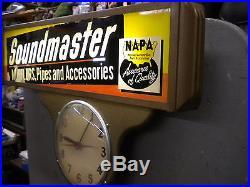 Vtg NAPA Auto Muffler Display Sign- Clock, Garage Gas Station NAPA Car Parts