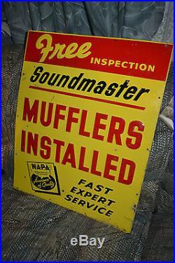 Vtg NAPA Auto embossed Muffler Display Sign Garage Gas Station NAPA Car Parts