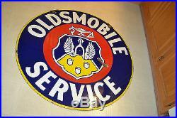 Vtg Oldsmobile Service Dealership Single sided Porcelain 42 Sign