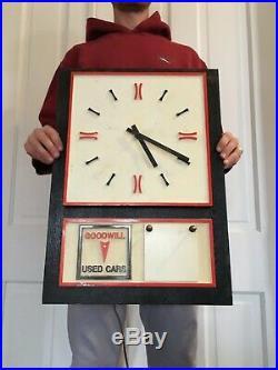 Vtg Pontiac Dealership Used Car Clock Sign Gas Oil GMC Truck Not Porcelain
